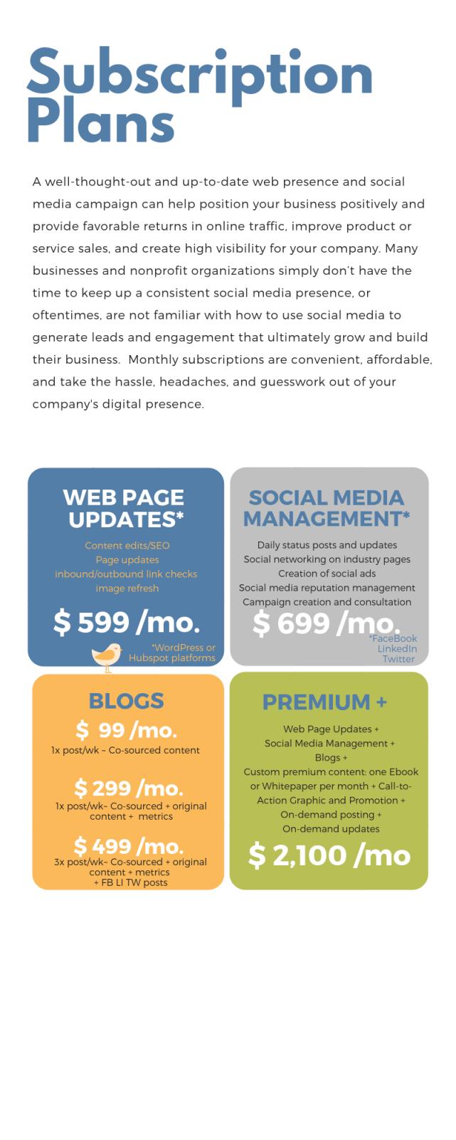 Subsriptions Plans Social Media